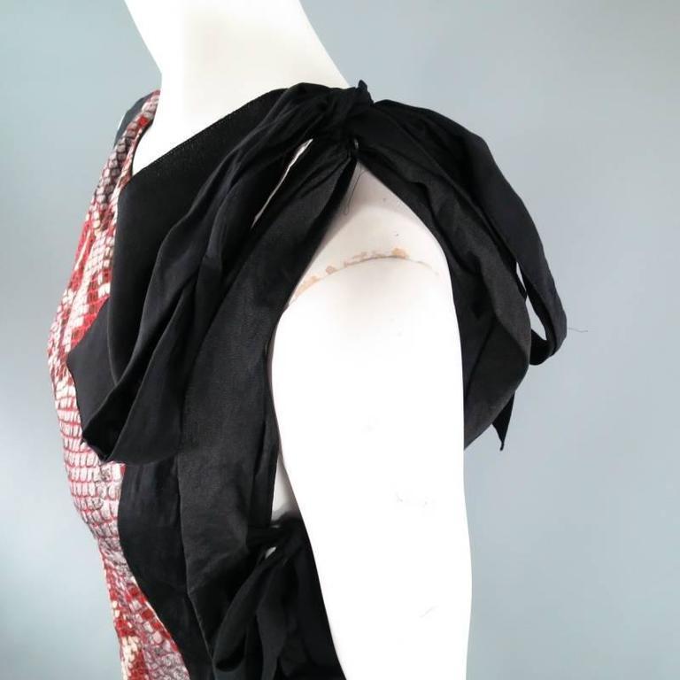 PRADA Size 2 Red Wrinkled Cotton / Silk Tied Cocktail Dress Spring 2009 3