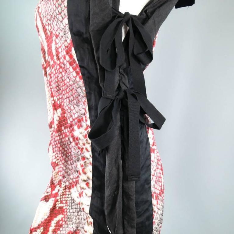 PRADA Size 2 Red Wrinkled Cotton / Silk Tied Cocktail Dress Spring 2009 5