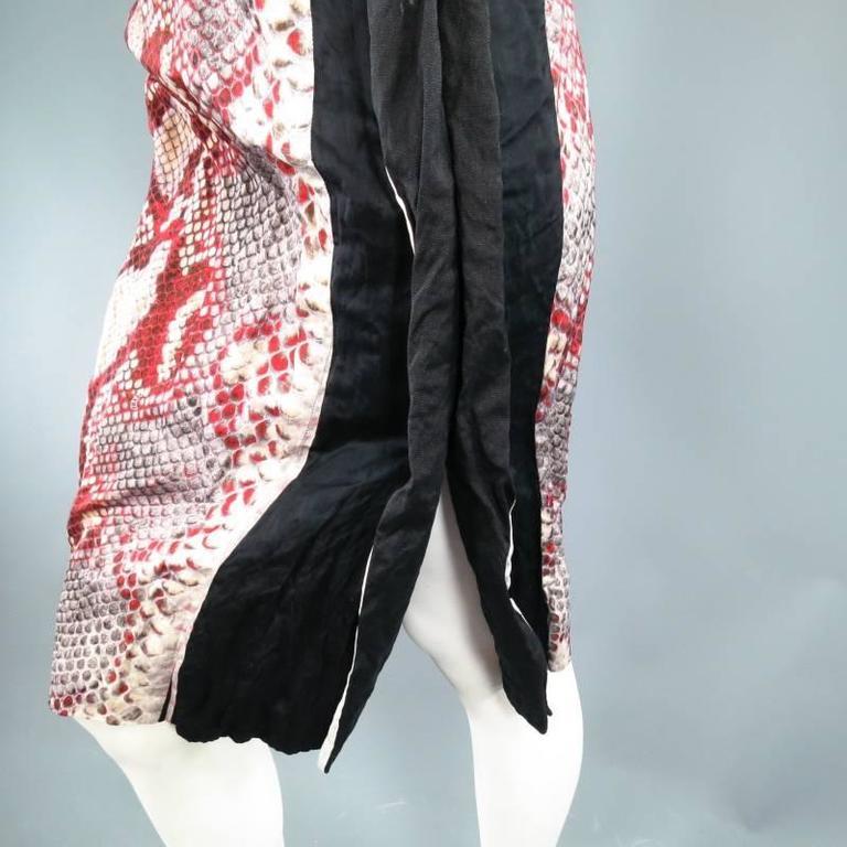 PRADA Size 2 Red Wrinkled Cotton / Silk Tied Cocktail Dress Spring 2009 6
