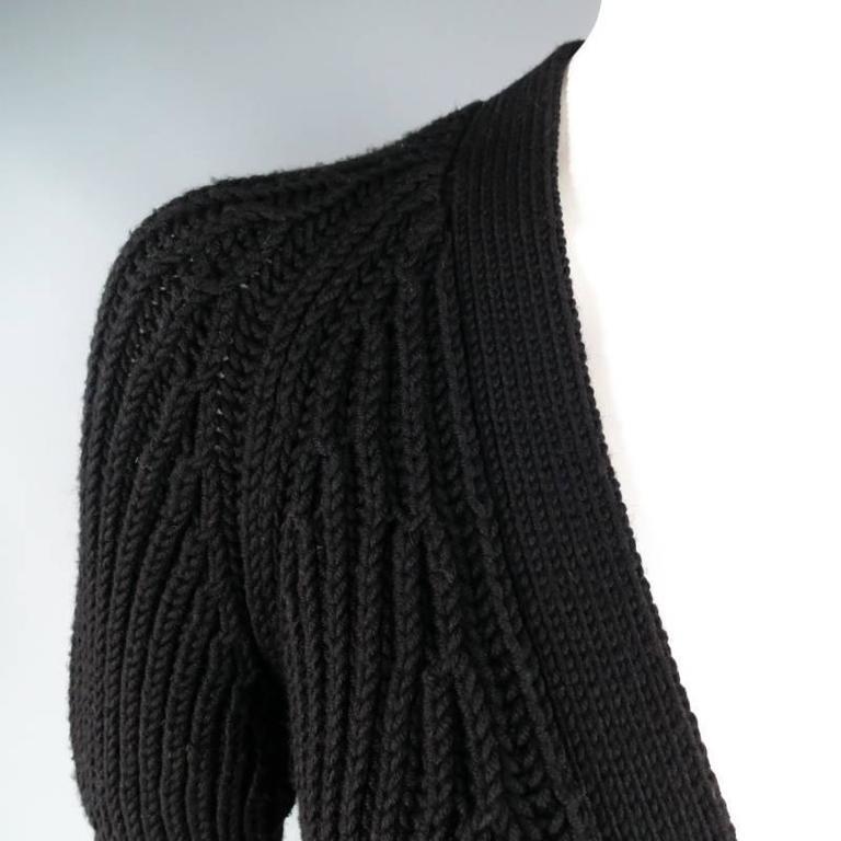 GUCCI Size XS Black Lana Wool Knit Juliet Sleeve Cropped Corset Cardigan 3