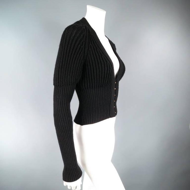 GUCCI Size XS Black Lana Wool Knit Juliet Sleeve Cropped Corset Cardigan 4