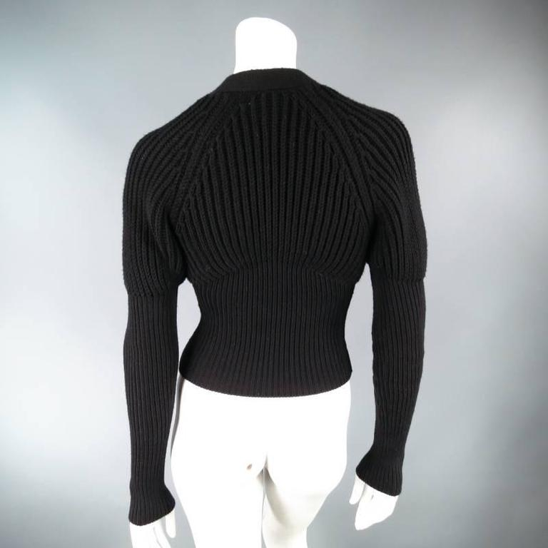 GUCCI Size XS Black Lana Wool Knit Juliet Sleeve Cropped Corset Cardigan 5
