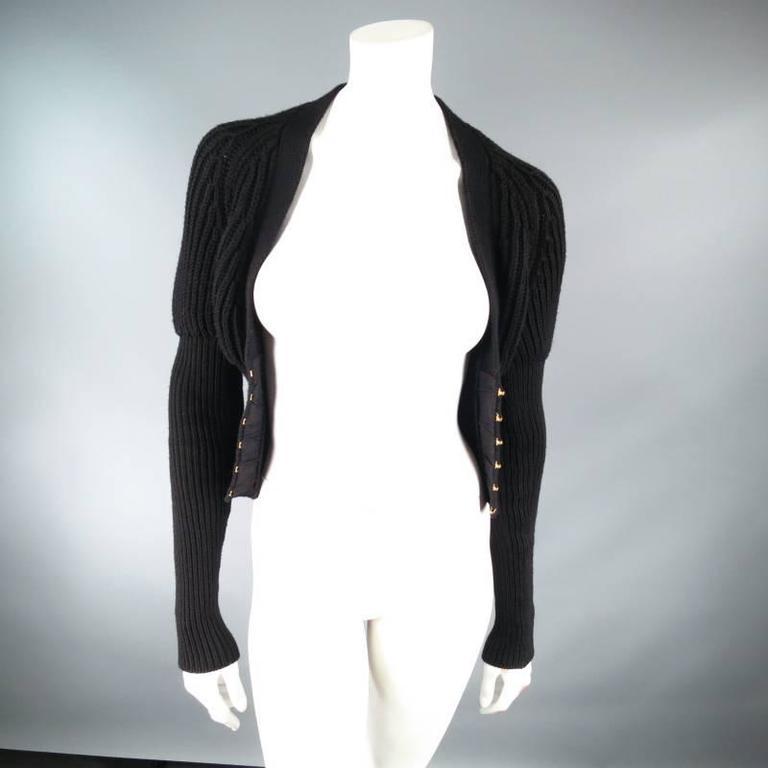 GUCCI Size XS Black Lana Wool Knit Juliet Sleeve Cropped Corset Cardigan 8