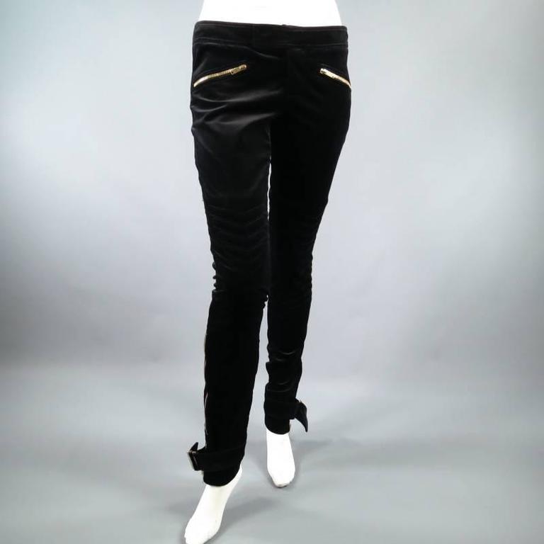 GUCCI Size 4 Black Velvet Biker Detail Gold Zip Ankle Belt Moto Pants 9