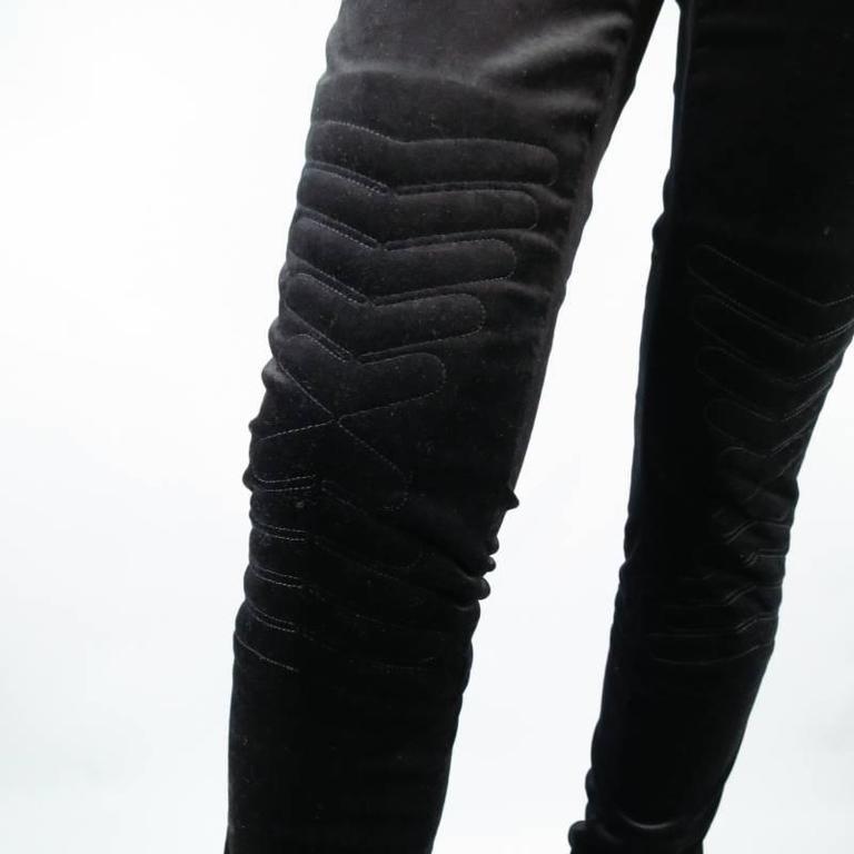 GUCCI Size 4 Black Velvet Biker Detail Gold Zip Ankle Belt Moto Pants 5