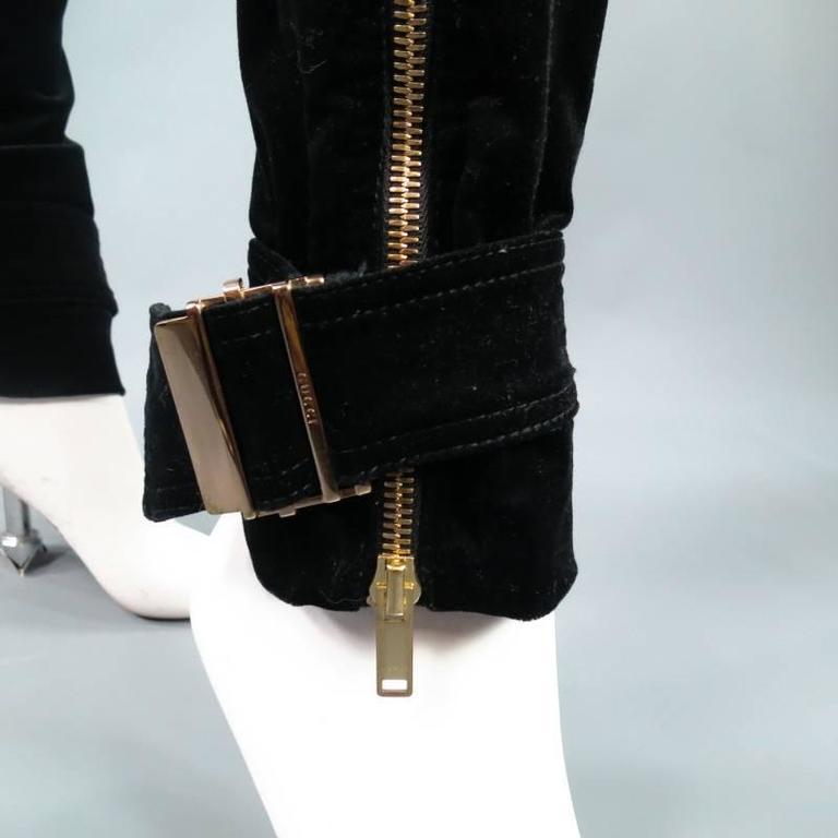 GUCCI Size 4 Black Velvet Biker Detail Gold Zip Ankle Belt Moto Pants 4