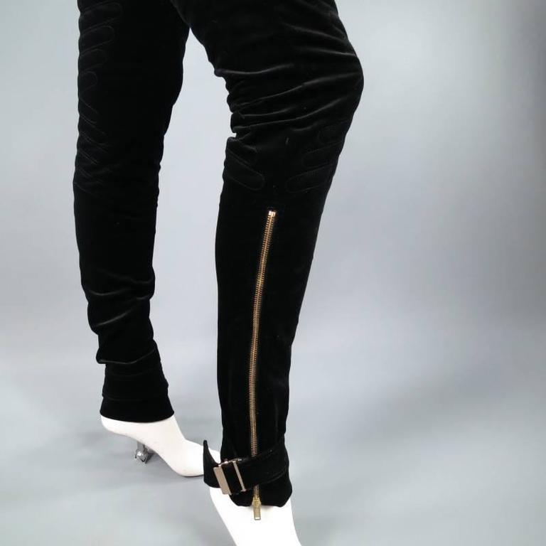 GUCCI Size 4 Black Velvet Biker Detail Gold Zip Ankle Belt Moto Pants 7