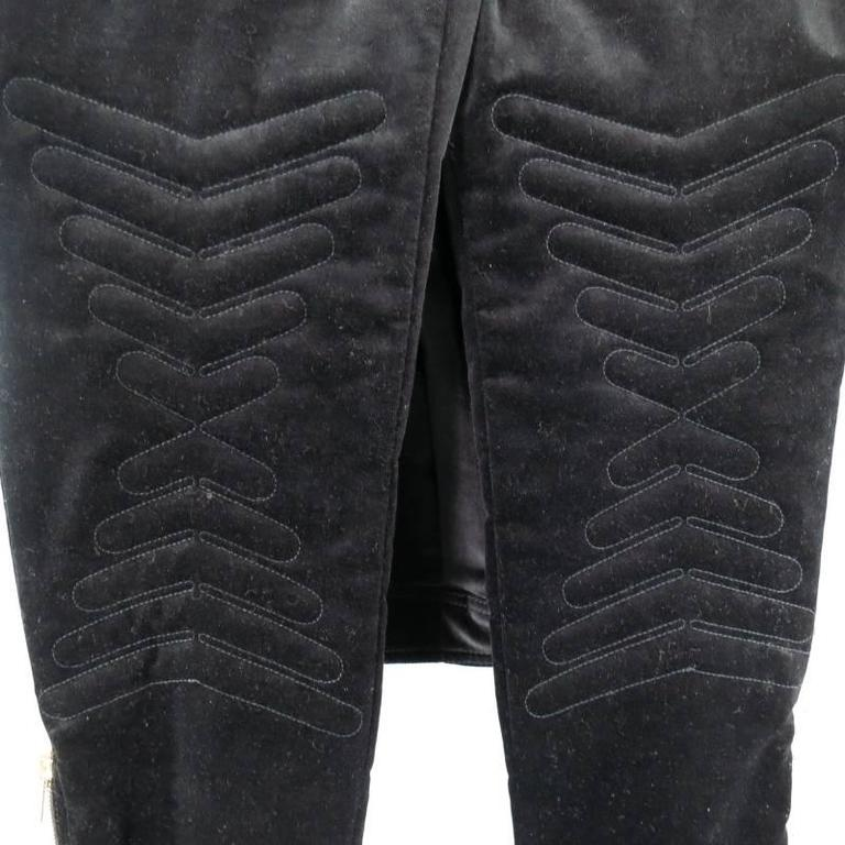 GUCCI Size 4 Black Velvet Biker Detail Gold Zip Ankle Belt Moto Pants 8