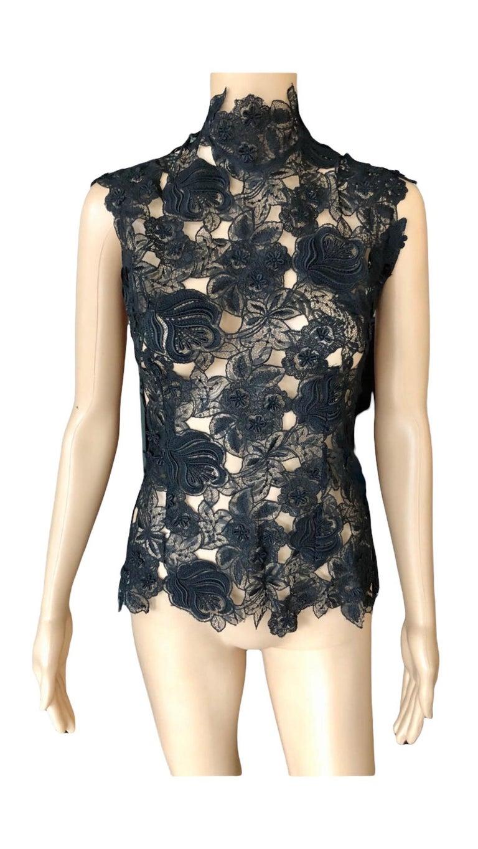 Thierry Mugler Vintage Lace Mock Neck Black Blouse Top For Sale 4