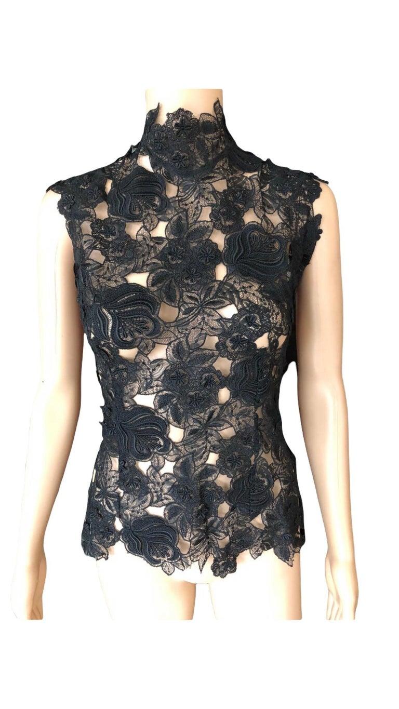 Thierry Mugler Vintage Lace Mock Neck Black Blouse Top For Sale 5