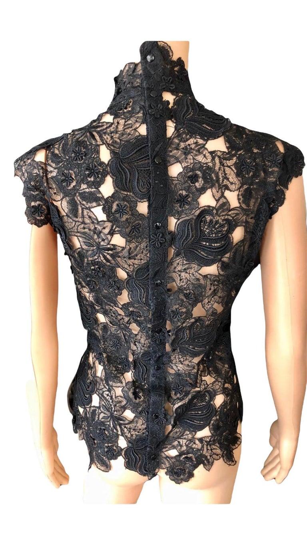 Thierry Mugler Vintage Lace Mock Neck Black Blouse Top For Sale 7