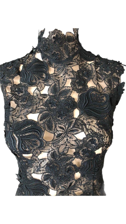 Thierry Mugler Vintage Lace Mock Neck Black Blouse Top For Sale 6