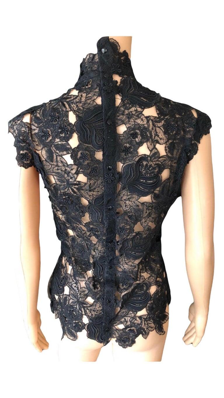 Thierry Mugler Vintage Lace Mock Neck Black Blouse Top For Sale 8
