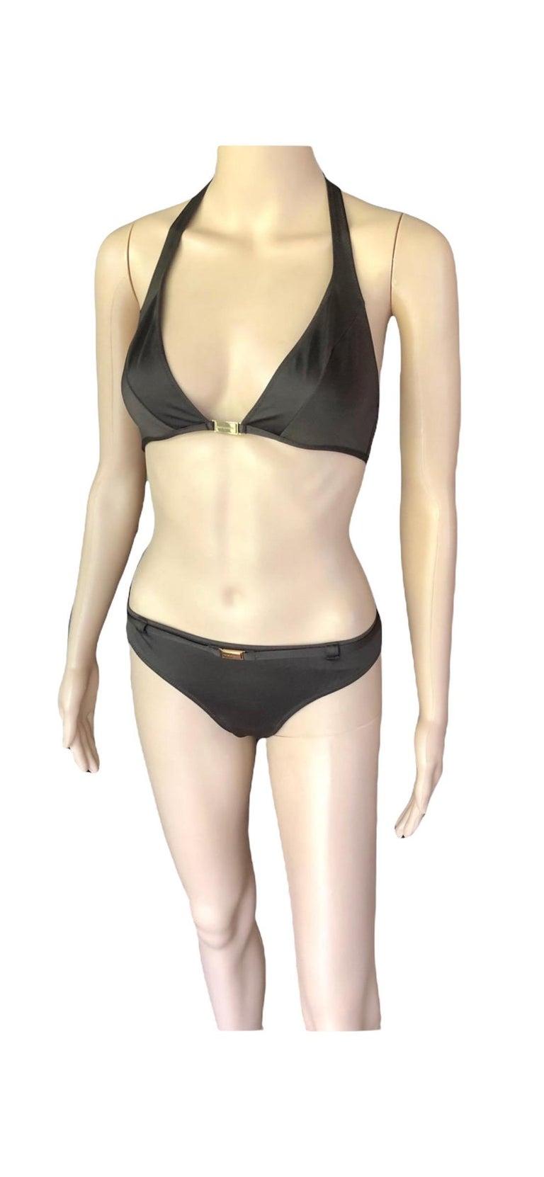 Dolce & Gabbana Logo Embellished Belted Brown Bikini Swimwear Swimsuit 2 Piece For Sale 3