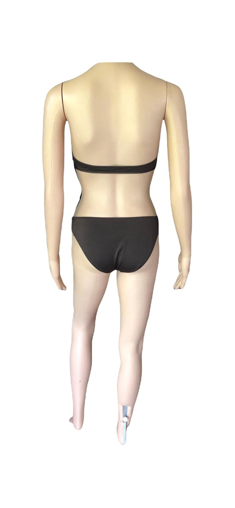 Dolce & Gabbana Logo Embellished Belted Brown Bikini Swimwear Swimsuit 2 Piece For Sale 6