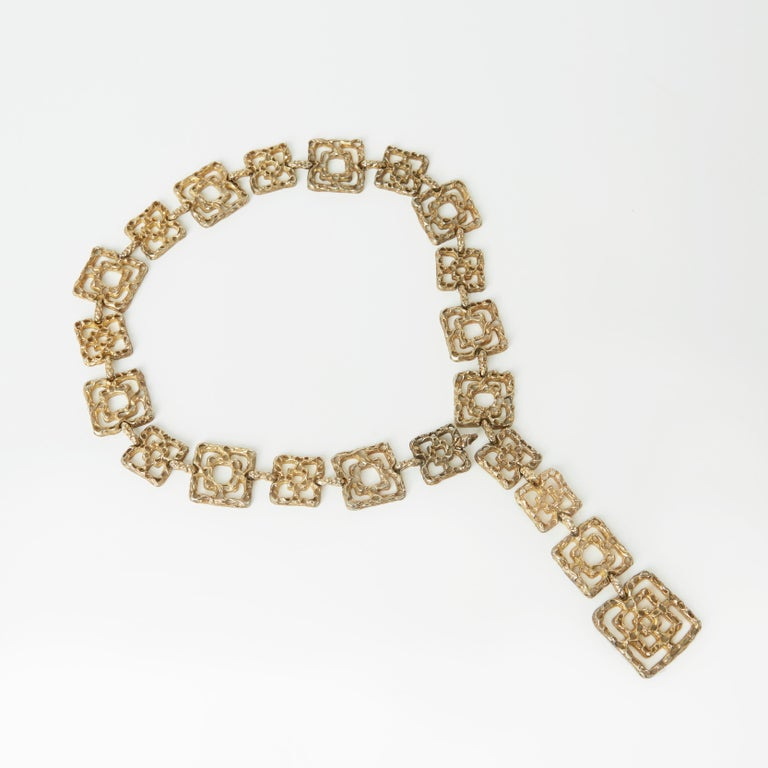 An extremely rare gold vermeil belt by Cartier, circa 1970, also can be worn as a chunky statement necklace.  This highly sought after and coveted belt is made from solid sterling silver covered in gold, is marked