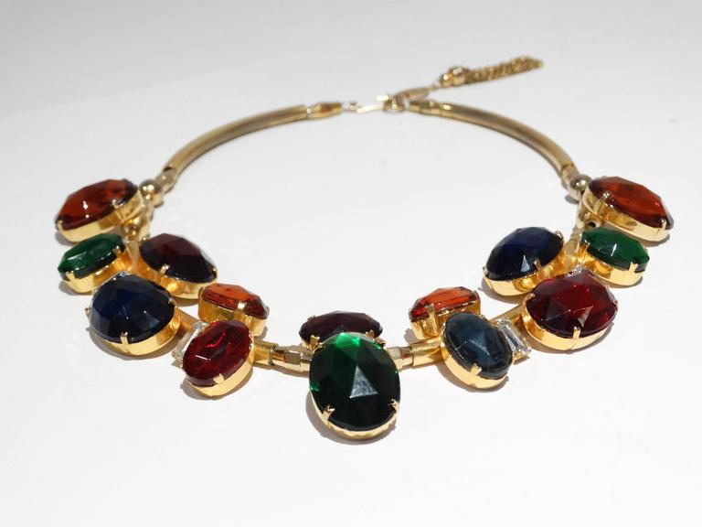 Rare 1980s Emilio Pucci Gem Collar Necklace In Good Condition For Sale In Scottsdale, AZ