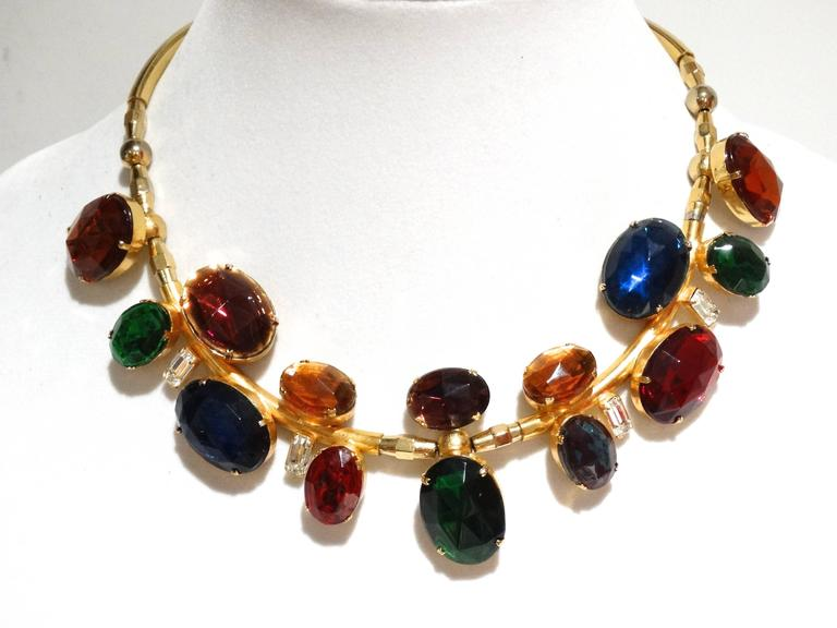 Rare 1980s Emilio Pucci Gem Collar Necklace For Sale 2