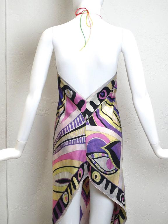 Women's 1960s Emilio Pucci Silk Crepe De Chine Halter Dress For Sale