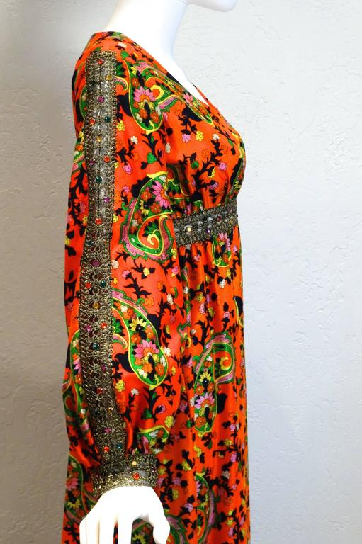 1960s  Miss Magnin for I.Imagnin Bohemian Maxi Dress In Excellent Condition For Sale In Scottsdale, AZ
