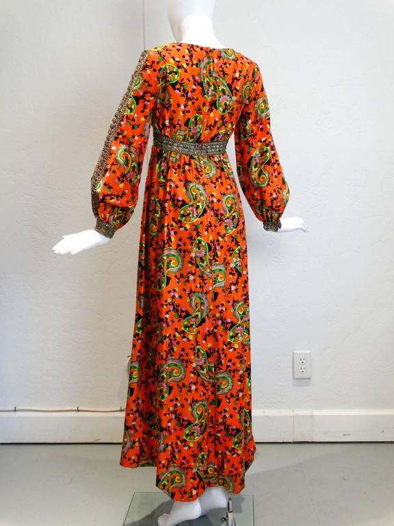 1960s  Miss Magnin for I.Imagnin Bohemian Maxi Dress For Sale 1