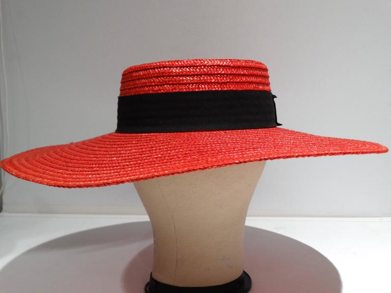 "1980s Limited Edition Red ""Gucci"" Straw Hat  For Sale 3"