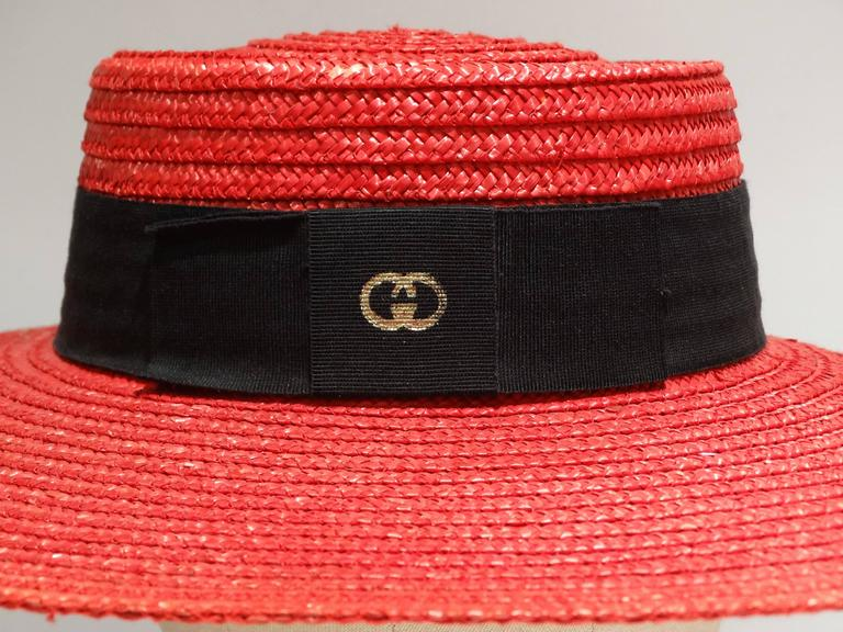 "1980s Limited Edition Red ""Gucci"" Straw Hat  For Sale 4"