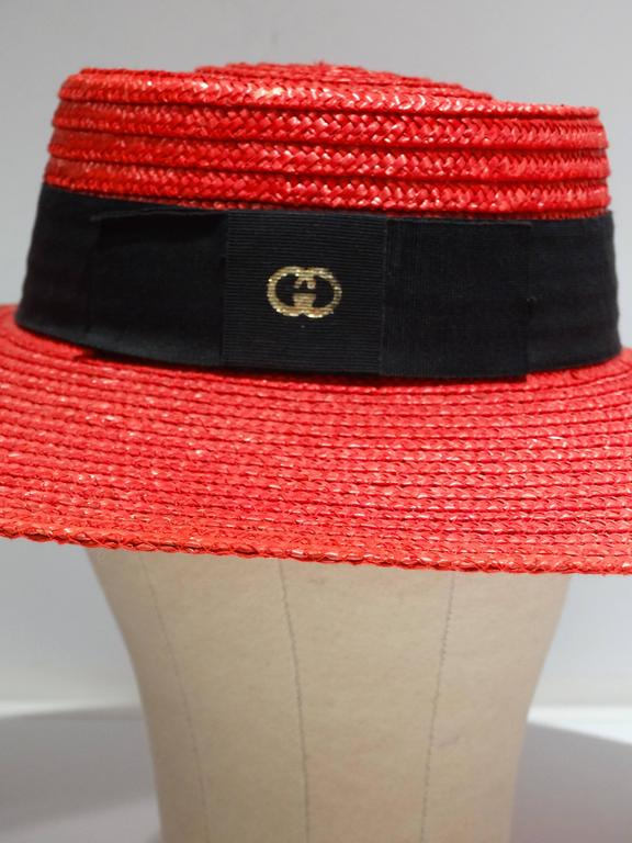 "1980s Limited Edition Red ""Gucci"" Straw Hat  In Excellent Condition For Sale In Scottsdale, AZ"