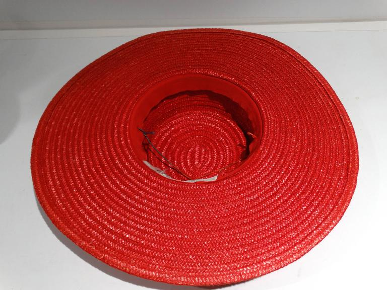 "Women's 1980s Limited Edition Red ""Gucci"" Straw Hat  For Sale"