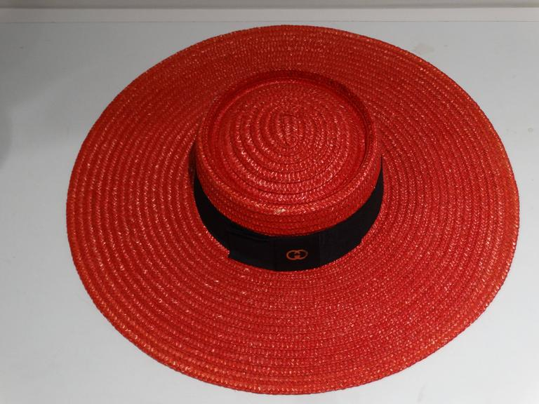"1980s Limited Edition Red ""Gucci"" Straw Hat  For Sale 1"