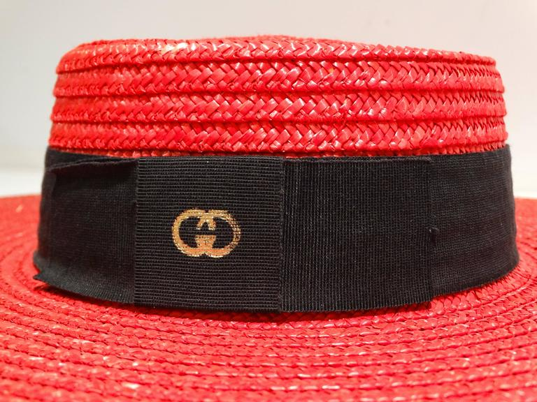 "1980s Limited Edition Red ""Gucci"" Straw Hat  For Sale 2"
