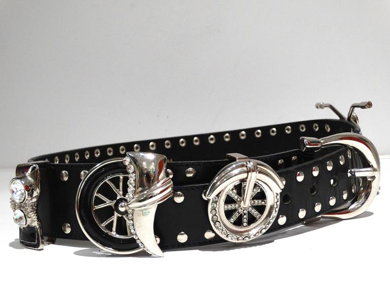 1980s Gianni Versace Iconic Runway MotorCycle Studded Belt  4