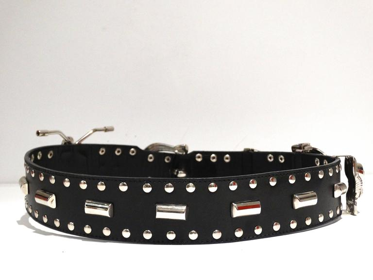 1980s Gianni Versace Iconic Runway MotorCycle Studded Belt  For Sale 2