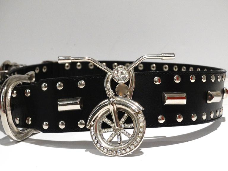 Iconic GIANNI VERSACE mens Runway Motorcycle Belt size 85 Nickel heavy with featured Motorcycle parts with crystal details. Studded out with large buckle closure. Belt measures 39