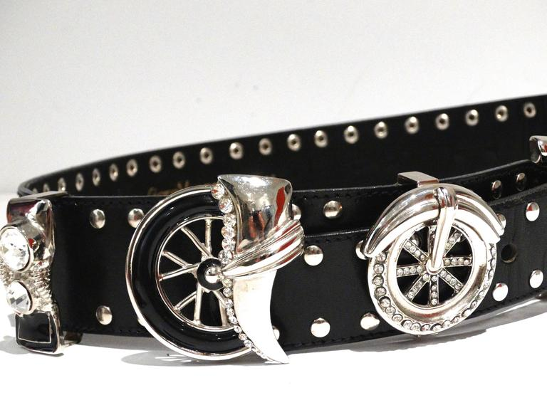 1980s Gianni Versace Iconic Runway MotorCycle Studded Belt  9