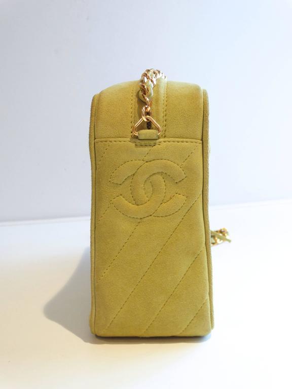 1980s CHANEL Suede Green Tassel Camera Bag  2