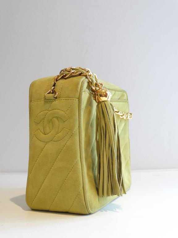 1980s CHANEL Suede Green Tassel Camera Bag  6