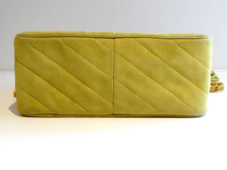 1980s CHANEL Suede Green Tassel Camera Bag  3