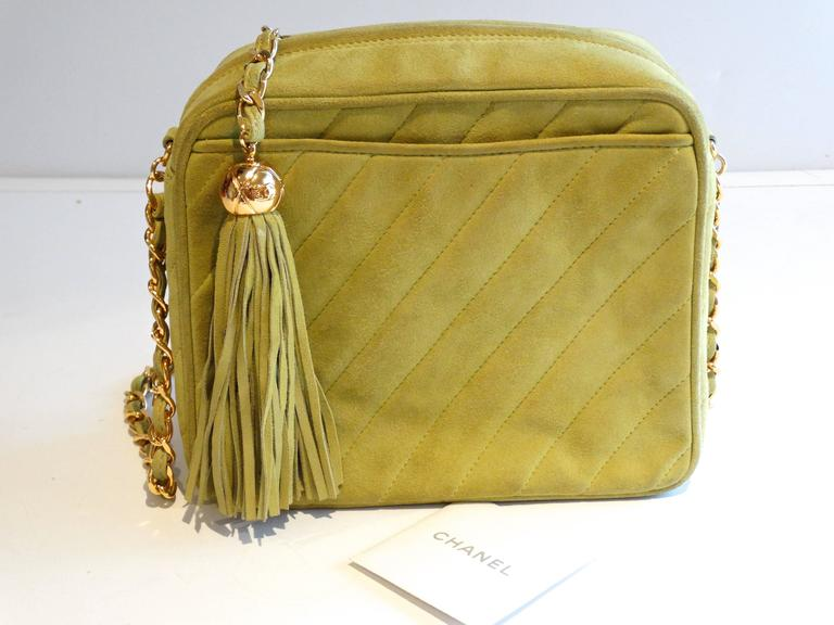 1980s CHANEL Suede Green Tassel Camera Bag  10