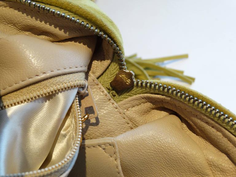 1980s CHANEL Suede Green Tassel Camera Bag  9