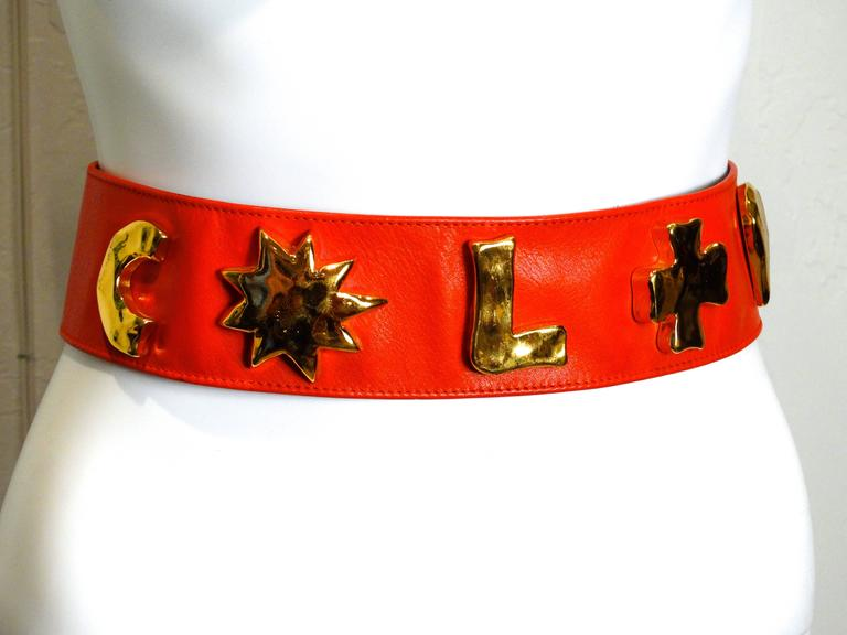 1990s Christian Lacroix Wide Red Iconic Gold Symbol Belt  3
