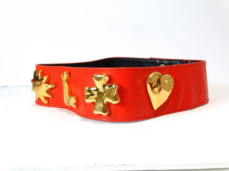 1990s Christian Lacroix Wide Red Iconic Gold Symbol Belt  4