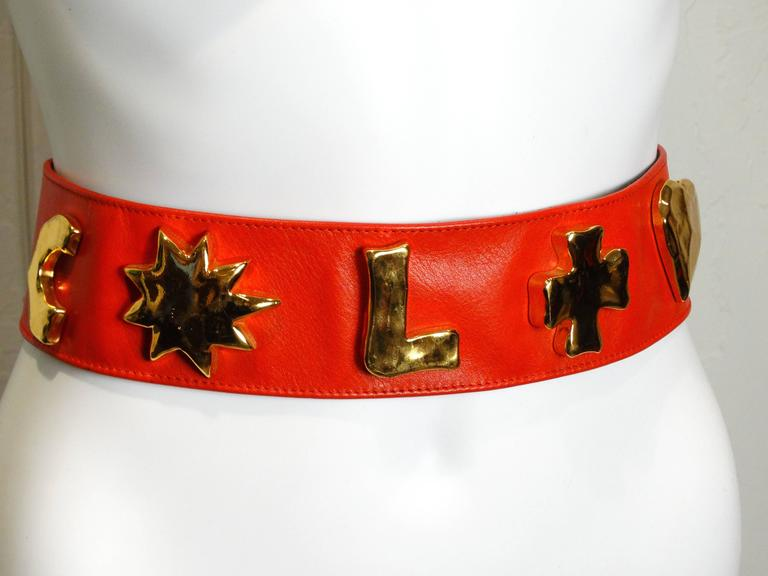 1990s Christian Lacroix Wide Red Iconic Gold Symbol Belt  6