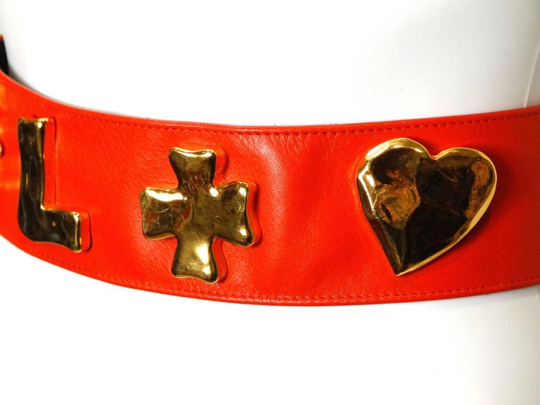1990s Christian Lacroix Wide Red Iconic Gold Symbol Belt  7