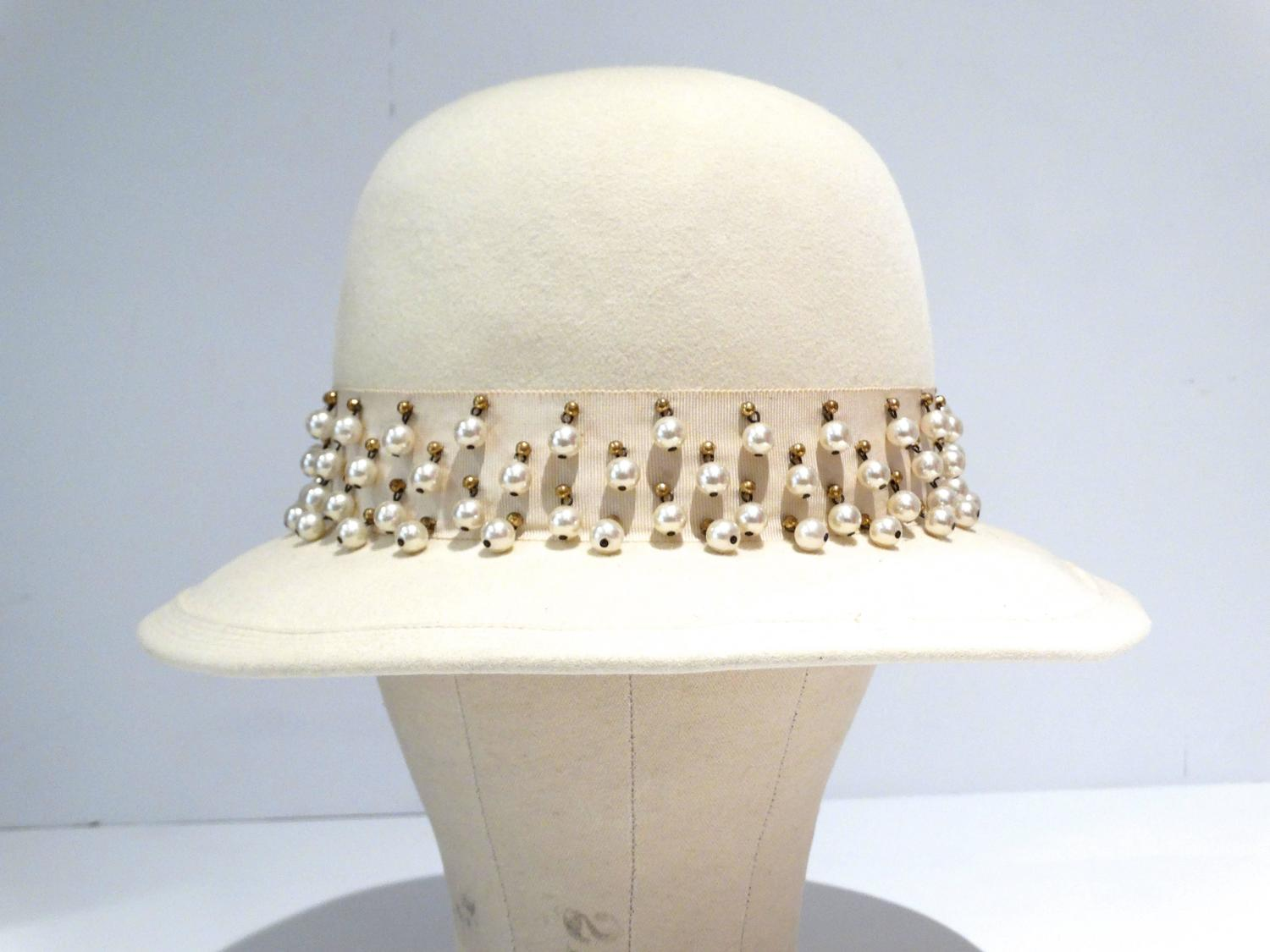 1970s Yves Saint Laurent Hat With Pearl And Stud Trim For