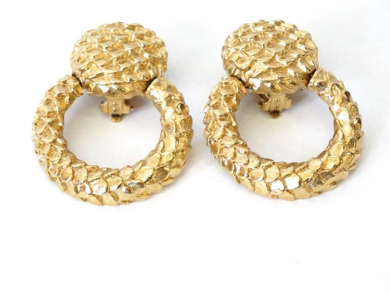 1980s Givenchy Gold Hoop Earrings In Excellent Condition For Sale In Scottsdale, AZ