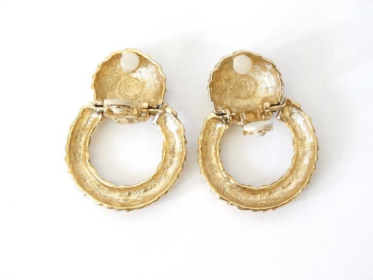 1980s Givenchy Gold Hoop Earrings For Sale 1