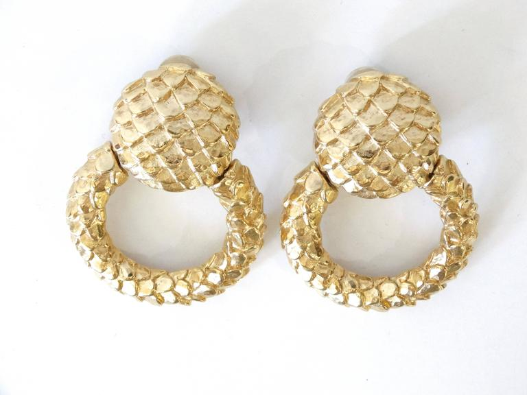 1980s Givenchy Gold Hoop Earrings For Sale 2
