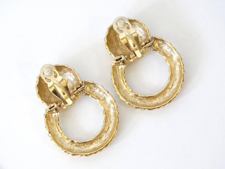 1980s Givenchy Gold Hoop Earrings For Sale 3