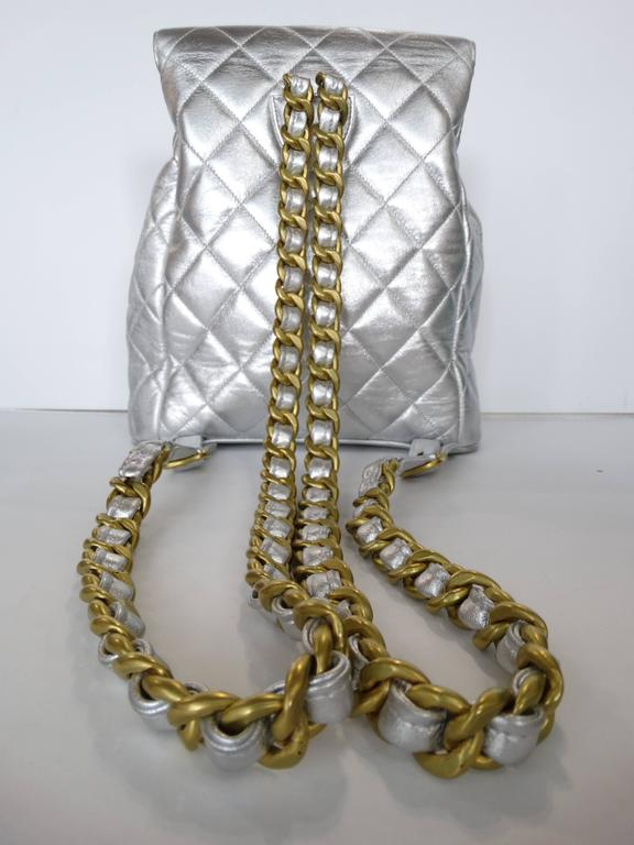 Rare 1994 Chanel Silver Metallic Backpack Bag For Sale 1